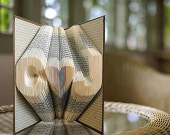 Folded Book Art - Initials - 1st Anniversary - Gift for Him -  Wedding  Personalized Gift -Unique gift - Amazing gift - Paper Anniversary