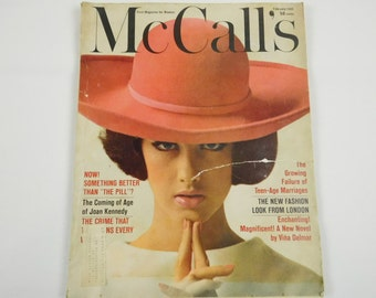 Vintage McCalls Magazine February 1965 Home Fashion Beauty Decor Short Stories Fiction 10 by 13 Inch Size Paper Crafting Vintage Paper Decor