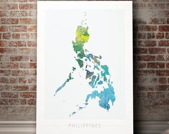 Philippines map etsy philippines map country map of the philippines art print watercolor illustration wall art home publicscrutiny Images