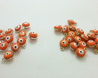 6 mm  Double Sided  Evil Eye Charms , Evil Eye  Jewelry , Turkish Eye ,  Eye Connectors , Evil Eye Eye , Findings , Supplies, Commercial