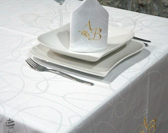 Luxury Wedding & Weddings Anniversary Gold Personalized Monogram Tablecloth -  Ref. Lines