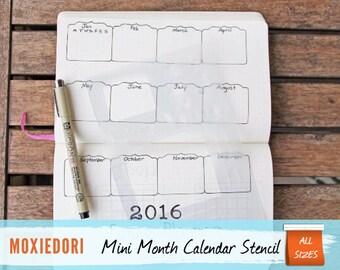 "Mini Calendar Month - Planner Stencil, fits Leuchtturm and Moleskine 5"" by 7"""