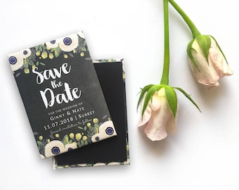 Wedding Save the Date Magnet - Rustic Anemones and Chalkboard