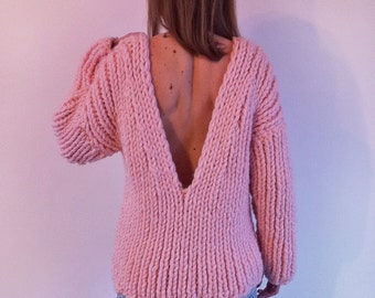 Super Chunky Sweater / Sweater with Decollete / Wool Sweater / Alpaca Sweater / Knit Sweater / Chunky Sweater / Winter Sweater