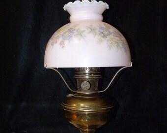 Aladdin Model No.11 Oil / Kerosene Brass Lamp w/Chimney, Tripod, & 550 Pink Painted Milk Glass Shade ~ 1922-28 ~ 11 Generator Oil LANTERN