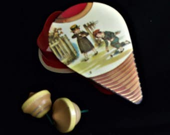 Shackman & Co Wooden Spinning Tops in Original Box ~ Vintage Toys ~  Wood Tops In Top Shaped Box ~ 1992 Shackman Toys Collectible Toys Old
