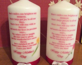 Mother's Day Pillar Candle Made To Order