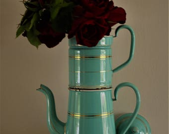 Vintage Tall Romantic French Aqua Blue Enamel Coffee Pot