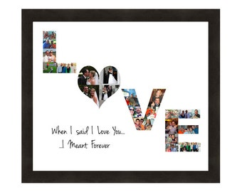 Anniversary Gift for Her or Him, Personalized Wall Art, Love Photo Collage, Custom Made from your Photographs, Wedding