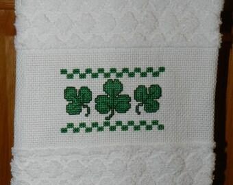 Cross Stitch St. Patrick's Dish Towel Shamrocks