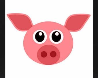 farm animal print, farm animal decor, digital download, digital art, farm animal art, pig art, pig digital print, nursery decor, nursery art