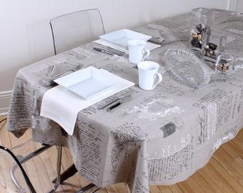 MANUSCRIPT BEIGE, 100% linen tablecloth
