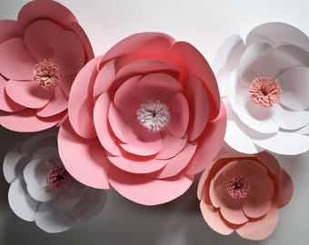 Large Pink Paper Flowers, Pink Baby Shower Decor