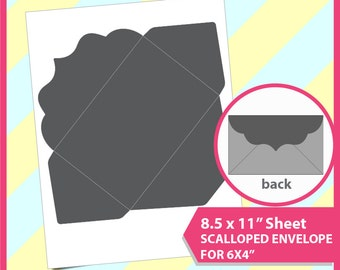 "Scalloped envelope Template for 6x4"", PSD, PNG and SVG Formats,  8.5x11"" sheet,  Printable 026"