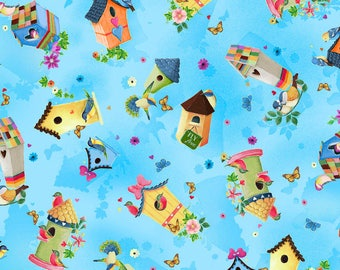 Blessed - Per Yard - Heiz Cuppleditch for Quilting Treasures - Bird houses on Blue