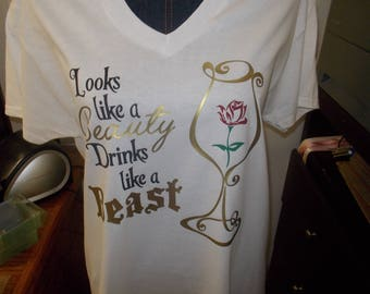 Womens Tee Shirt Beauty and the Beast **ONE TIME ONLY**