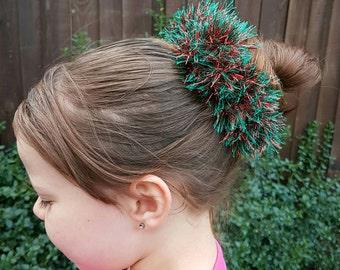 Crochet hair scrunchie, sparkly hair accessories, girls accessories