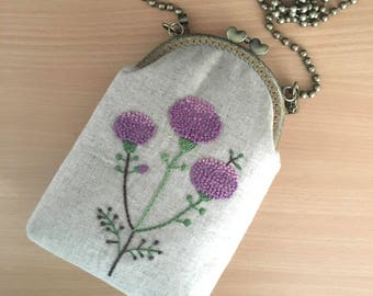 Floral Embroidery Frame Pouch