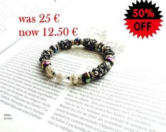 SALE Beaded bracelet for women, black bracelet, silver bracelet, beadwork jewellery, stackable bracelet