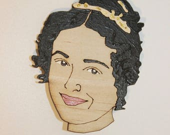 Pride and Prejudice, Lizzy, Jane Austen, gift, wood, jewellery, hand made, made in australia, laser cut, hand painted, Elizabeth Bennet