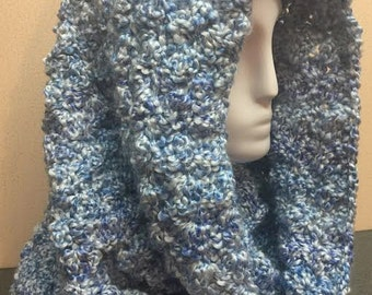 Hooded Cowl, Blue Cowl Scarf, Crochet Cowl Scarf, Crochet Hooded Cowl, Blue Scarf, Cowl Scarf, Crocheted Scarf, Circle Scarf, Gifts for Her
