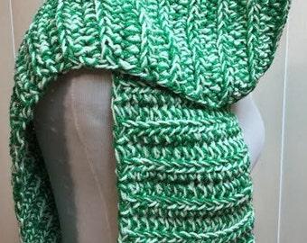 Green Scarf, Crochet Scarf, Green Chunky Scarf, Open Ended Scarf, Green Crochet Scarf, Metallic Scarf, Crocheted Scarf, Winter Scarf