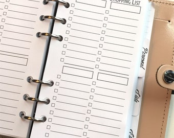 Shopping Lists Personal Planner Inserts
