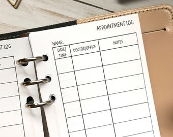 Appointment Log/Tracker Personal Planner Insert