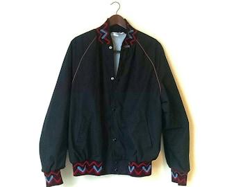 Vintage 1980s tribal Aztec bomber jacket