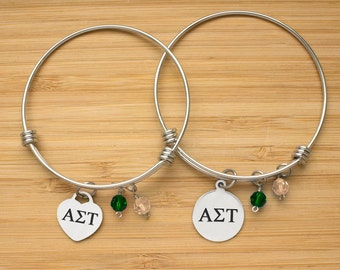 Alpha Sigma Tau Bracelet | Stainless Steel Adjustable Bangle | Sorority Bracelets | Three Styles | Officially Licensed
