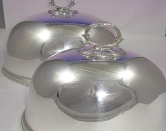Vintage Mappin Webb Stunning Pair Silver plated Meat Dome Covers Circa 1900