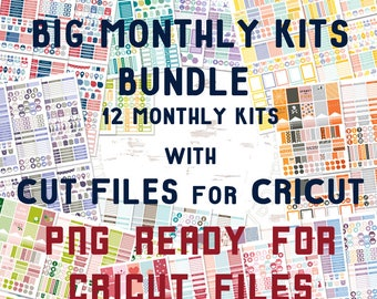 BIG Monthly Kit with Cut Files for CRICUT- 12 months of Planner Stickers for Erin Condren 240 PNG files ready for Cricut Whole Year bundle