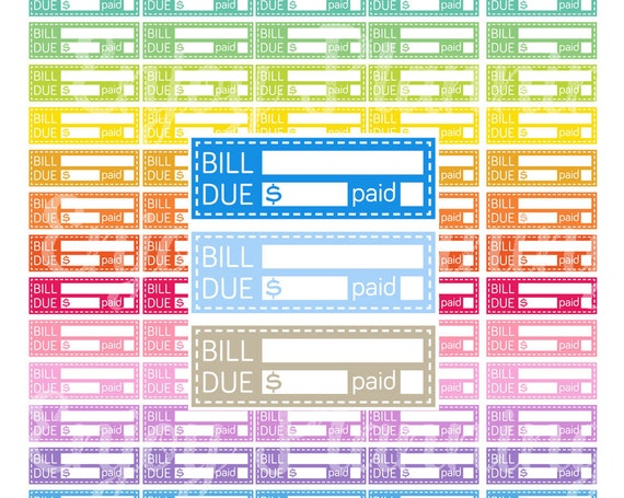 printable bill due planner stickers bill due printable planner