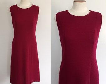 1960s berry wool sleeveless shift dress / 60s dress / vintage 1960s dress / small S medium M