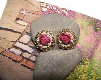 Vintage Rose Clip Earrings, Flower Earrings, Spring Jewelry, Summer Earrings, Gift for her, Flowers, Gift for Mom, Gift for the gardener