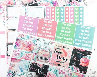 Love Story Weekly Kit | Planner Stickers, Weekly Kit, Spring Weekly Kit, Vertical Planner Kit, Full Weekly Kit, typewriter weekly kit
