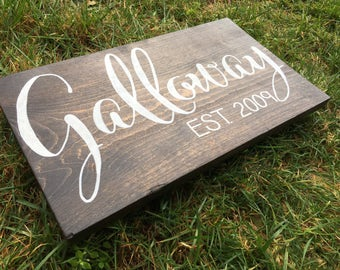 Custom Family Established Rustic Sign -  Wedding/Anniversary/Christmas  Gift