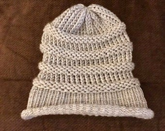 Knitted Ribbed Slouchy Hat