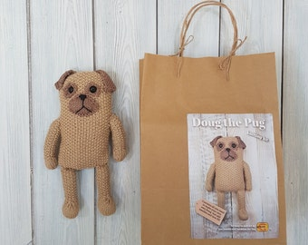 Doug the Pug Knitting Kit - Make Your Very Own Pug dog - Easy To Knit Pattern
