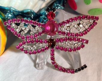 Vintage Pink Rhinestone Dragonfly Pin, Czech Dragonfly Brooch, Fuchsia Pink Rhinestone Dragonfly, Statement Brooch, Estate Jewelry