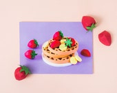 WAFFLES POSTCARD / Snail Mail, Stationery, Postal, Mini Art Print, Strawberry Banana Waffles, Food Art, Kitchen Art, Original Art by LULO