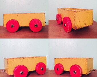 Vintage Wooden Toy Wagon Circa 1960s Yellow and Orange 8 1/4 in x 4 in