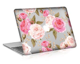 Macbook Rubberized Hard Case, Pink Rose Design with Clear Bottom Case