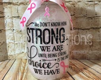 Breast Cancer Glitter Mason Jar  Light, mason jar, night light, mason jar light, breast cancer awareness, glitter mason jar light,