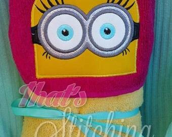 Minion Girl inspired Hooded Bath Towel