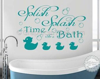 Bathroom Wall Sticker Quote, Splish Splash, with Bubbles & Ducks, Wall Art Decal