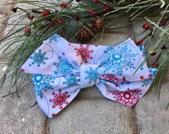 Christmas Headwrap, Snowflake Headwrap, Big Bow Headwrap Tied,Boho Bow Headwrap, Headband, Toddler Headwrap