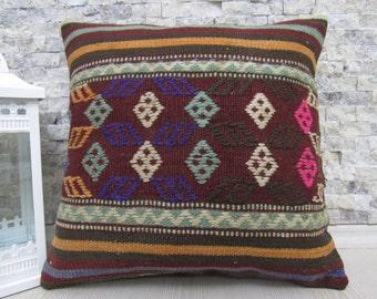 Turkish old Handmade suzani pillow 16 x 16 Decorative Pillow Turkish kilim cushion Accent pillow