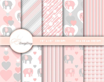 Digital paper pack Elephant, Digital Paper Elephant, Elephants Scrapbook, pink elephant patterns, card making, Pink Collection