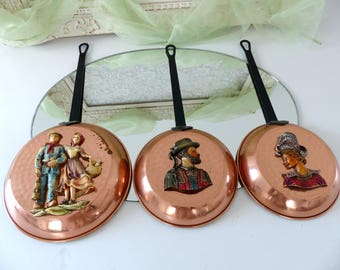 Set of 3 Vintage French Enameled Copper Brass Decorated Frying Pans, Farm Rustic Country Wall Décor, Relief Farmer Characters, Kitchen Décor